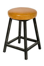 Leather, Padded Seat Low, Square Frame Stool