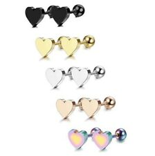 1 Heart Lower Ear Bar Earrings Ring Stud Piercing Surgical Steel Labret Lip Bars