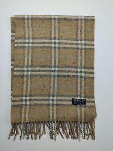 Burberry genuine Vintage 100% Lambswool Nova check Cream winter Scarves Scarf