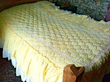 Vtg Quilted Bedspread & Pillow Sham Twin Check Lace Ruffle Yellow White Prairie