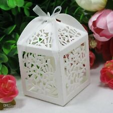 1 x sample delicately cut out 'leaves' design wedding favour boxes with ribbon