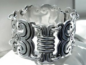✨KNOCKOUT✨ 119g sterling silver 925 AVE JUAREZ PRIETO Mexico statement bracelet