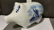 Vintage DELFT Holland Mini Piggy Bank Hand Painted - Coins Inside...