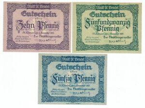 SET OF 3 GERMANY NOTGELD 10.25.50 PFENNIG STADT-ST WENDEL 1919 UNC