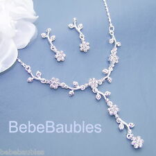 WHOLESALE LOT Ten 10 Crystal Necklace Sets Bridal Wedding Bridesmaid Gift Sp NEW