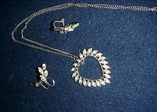 VINTAGE SILVER TONE R/S HEART WITH STERLING EARRINGS..ADORABLE! NICE STONES