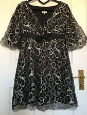 Rare sold out Karen Millen Black and Silver lace dress UK size 8