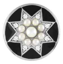 BUY 4, GET 5TH $6.95 SNAP FREE GINGER SNAPS™ Jewelry PEARL STAR - BLACK SN31-30