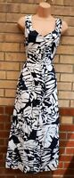 TOGETHER BLUE WHITE COTTON LEAVES PALM FLORAL BUTTONED A LINE MAXI LONG DRESS 16