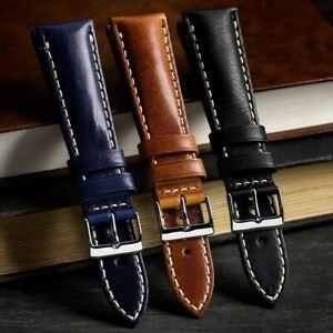Geckota® Vintage Otley Italian Genuine Leather Watch Strap with Polished Buckle
