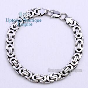 "7.5""8.5""9.5""Black Silver Gold Stainless Steel Byzantine Box Bracelet for Men's 2"