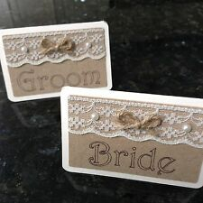 Bride & Groom Table Name Place Cards. Rustic Vintage Wedding Lace And Pearls