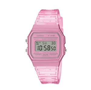 Casio F-91WS-4DF Pink Resin Transparent Strap Watch for Women