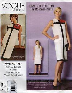 Vogue Sewing Pattern 1557 Pattern Hack Mondrian Dress, Colour Block Size 6 - 16