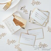 WEDDING ICEBREAKER GAME CARDS -Gold/White Modern Design- Table Trivia for Guests