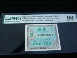 """Japan 1955 Allied Military Currency 1 Yen Pick#67b """"B' In Unpt PMG Gem 66 EPQ"""