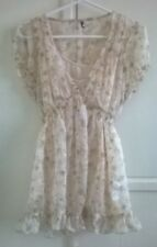 Cream floral short sleeve blouse with built in vest layer (2 in 1) Size 14
