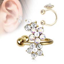 FINTO helix piercing Fiore Fiori Placcato Oro oro giallo clip orecchio ear POLSO