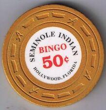 Seminole Indian Bingo 50¢ Casino Chip Hollywood Florida