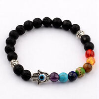 Fashion Man's  8MM Natural Lava  Protection Hamsa Charm 7 Chakra Bracelets