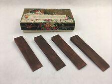 Antique Window Wedges Set of 4 Dark Wood in Original Box Made in USA Rust Craft