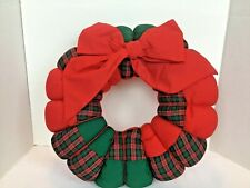 Vintage Handmade Sewn Patchwork Christmas Wreath With Bow Red Green Plaid 15.5""