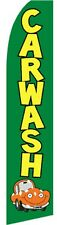 WINDLESS BANNER CAR WASH FLAG IN GREEN  PRINT + ALUMINIUM POLE + BASE.car wash
