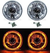 5-3/4 Amber LED Halo Halogen Light Bulb Headlight Angel Eye Crystal Clear Pair