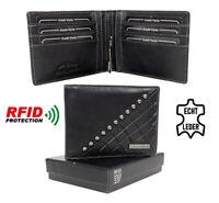 Hombre Cuero Cartera Clip de Dinero para Billetes Con Rfid-Schutz, Monedero Rv