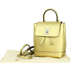 Louis Vuitton Lockme Mini Backpack Bag M54575 Metallic Gold Rucksack Woman New