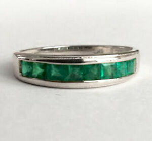 s R308 Genuine 9ct White Gold Natural Emerald Square Channel Wedding Ring size S