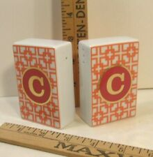 "C WONDER MONOGRAM PORCELAIN SALT & PEPPER SHAKER SET INITIAL ""C"""