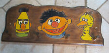 Sesame Street Bert Ernie Big Bird Cut Painted Wooden Hanging Coat Hat Key Rack