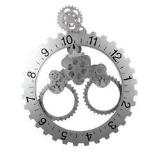 3D DIY Wall Art Rotary Gear Clock Mechanical Calendar Home Decor Silver