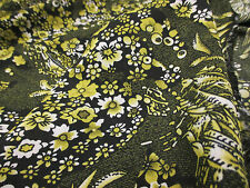 "4 metre Yellow  ""Mini Sunflower"" Retro Floral Printed Summer Dress Fabric."