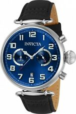 wachawant: Invicta 22979 Aviator Quartz 46mm Blue Dial Black Leather Men's Watch