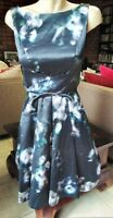 CUE ELEGANT BLACK & PURPLE FIT N FLARE DRESS WITH CROSSOVER WAIST SIZE 6 .