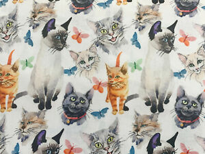 100% Cotton - Cute Cat & Butterfly Print Fabric - Childrens Craft Material