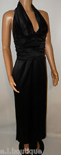 VICKY MARTIN black satin halter maxi gathered cocktail dress 8 10 BNWT RRP £195