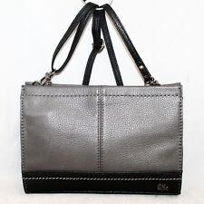 THE SAK Iris Convertible Clutch Crossbody Bag in Slate Gray & Black Leather