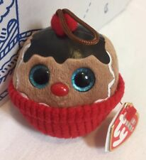 """New Ty Baby Beanies Holiday COCO 3"""" Gingerbread Cupcake Ornament Plush Toy Doll"""