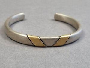 Silber Armreif 925 Sterling Armspange mit Gold veredelt 39 Gramm Massiv
