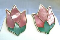Vintage Lee Sands Mop Abalone Inlaid Shell Tulip Flower post Earrings