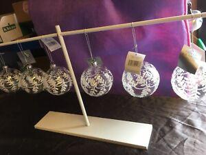 Set Of 6 Gisela Graham White Winter Glass Christmas Tree Hanging Baubles 8cm-258