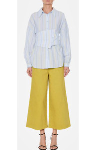 Tibi M Blue Yellow Striped Shirt With Removable Corset Belt Cotton Blouse
