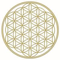 Blume des Lebens Aufkleber 4 Stück 90 mm mit Goldprägung