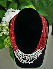 Red Coral Freshwater Pearls Beaded Necklace 14kt Gold Clasp 8 Strand