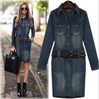 Women's Ladies Denim Long Sleeves Cotton Jean Denim Dresses Plus Size 12 To 20