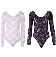 Ladies All Over Lace Sheer Bodysuit Long Sleeve Top Leotard Evening Wear Mesh
