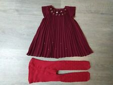 Baby girl burgundy 3D occasion dress & tights set size 3-6mths by Mamas&Papas
